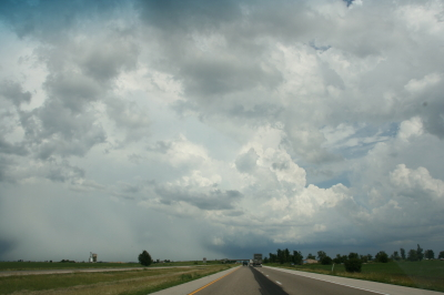 Second storm showing hail shaft and updraft tower.