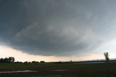Wall cloud approaching SR 111 north of Forest City.