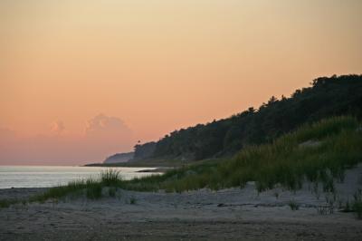Looking north along the Lake Michigan coast at sunset.