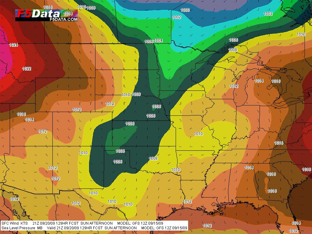 GFS Sea Level Pressure for 21Z Sunday.