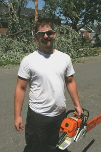 One good egg. He just showed up with his chainsaw, ready to help.